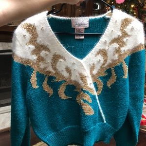 Jaclyn Smith Vintage Sweater Fuzzy Shoulderpads